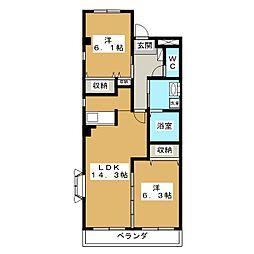 オオシマハイツベル[2階]の間取り