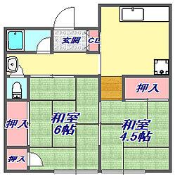 松村文化[1階北号室]の間取り