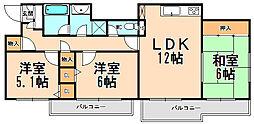 兵庫県伊丹市宮ノ前3丁目の賃貸マンションの間取り