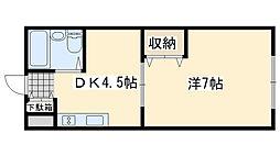 ワンルームマンション喜田[35号室]の間取り