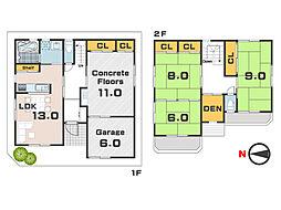 大きなコンクリート敷き空間のある戸建 3SLDKの間取り