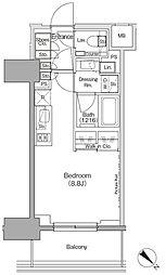 東京メトロ有楽町線 月島駅 徒歩1分の賃貸マンション 7階ワンルームの間取り