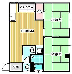 大西マンション[3A号室]の間取り