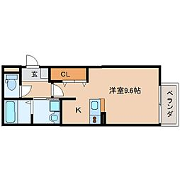 奈良県奈良市大宮町3丁目の賃貸アパートの間取り
