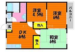 岡山県倉敷市神田1丁目の賃貸アパートの間取り