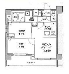 京成押上線 京成曳舟駅 徒歩4分の賃貸マンション 8階2LDKの間取り