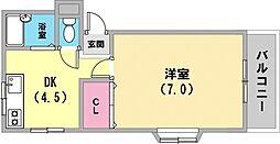 メゾン・ド・トウダ 4階1DKの間取り