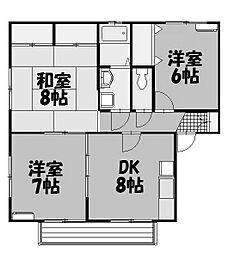 リヴレット玉川B棟[1階]の間取り