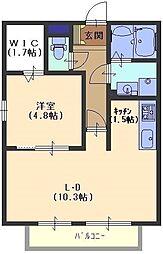 ケーティーハイツB棟 川田2 吉田21分[2階]の間取り