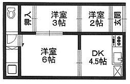 大阪府堺市堺区西湊町2丁の賃貸アパートの間取り