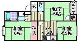 小津浜ハイツ[3B号室]の間取り