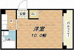 大阪府大阪市中央区高津1の賃貸マンションの間取り