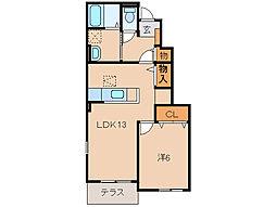 和歌山県和歌山市西浜の賃貸アパートの間取り