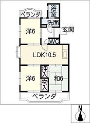 ロイヤルハイツ三本木[2階]の間取り