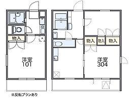 南海高野線 河内長野駅 徒歩18分の賃貸マンション 2階1Kの間取り