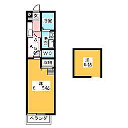 ハウスフォーA[1階]の間取り