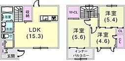 [タウンハウス] 兵庫県神戸市東灘区西岡本4丁目 の賃貸【兵庫県 / 神戸市東灘区】の間取り
