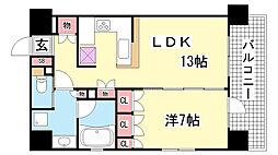 兵庫県神戸市中央区磯辺通3丁目の賃貸マンションの間取り