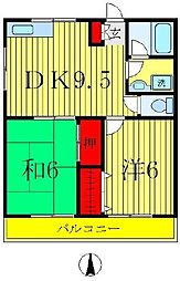 パークサイドコーポ[2階]の間取り