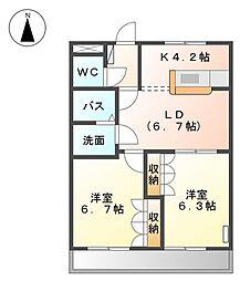 岡山県岡山市東区西大寺浜の賃貸アパートの間取り