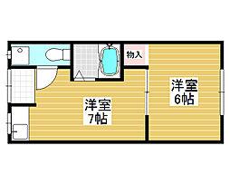 大阪府堺市北区東三国ヶ丘町5丁の賃貸アパートの間取り