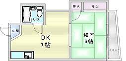 シャトー東梅田 4階1DKの間取り