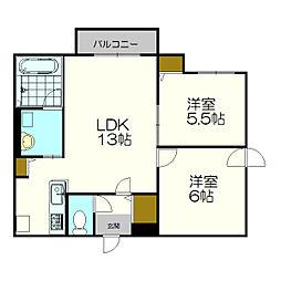 北海道札幌市厚別区厚別中央五条2丁目の賃貸マンションの間取り