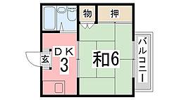 京口アパート[206号室]の間取り