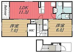 小湊鉄道 海士有木駅 徒歩7分の賃貸アパート 2階2LDKの間取り