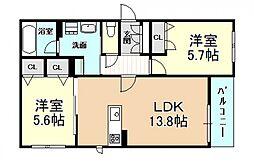 (仮称)新築シャーメゾン法善寺PJ 3階2LDKの間取り