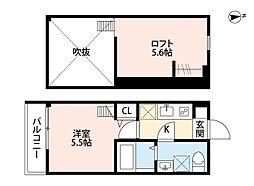 JR相模線 海老名駅 徒歩14分の賃貸アパート 1階1Kの間取り