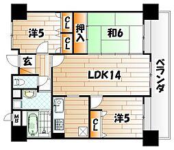 シャンピア黒崎[6階]の間取り