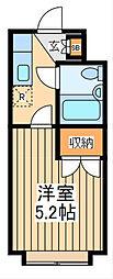 JR南武線 西府駅 徒歩12分の賃貸マンション 1階1Kの間取り