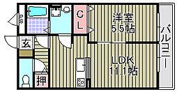 アムール葛の葉 2階1LDKの間取り