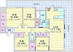 ライオンズ仙台レジデンス 12階4LDKの間取り