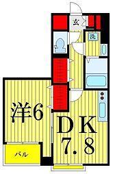 コーラルグラン 3階1DKの間取り