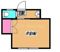 JR中央線 三鷹駅 徒歩9分の賃貸マンション 2階ワンルームの間取り