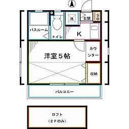 JR中央本線 東小金井駅 徒歩10分の賃貸アパート 2階1Kの間取り