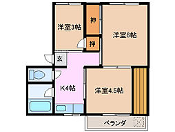 マンション曙 A棟[2階]の間取り