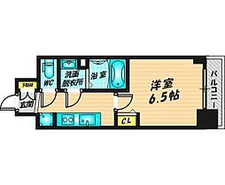 プレサンス福島ミッドエル 9階1Kの間取り