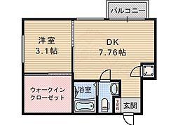 北大阪急行電鉄 桃山台駅 徒歩8分の賃貸マンション 2階1DKの間取り