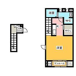 ピュアブルック2 2階1Kの間取り