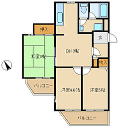 兵庫県尼崎市塚口町6丁目の賃貸マンションの間取り