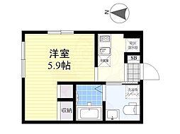 Luxe residence菊川 2階1Kの間取り
