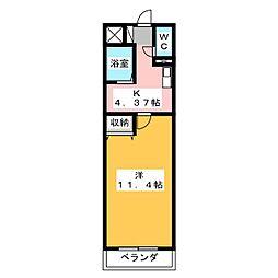 ウィスタリア東静岡[4階]の間取り