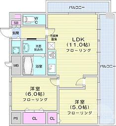 仙台市営南北線 北四番丁駅 徒歩3分の賃貸マンション 7階2LDKの間取り