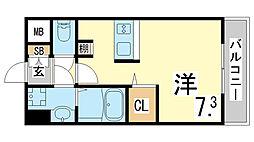 JR東海道・山陽本線 新長田駅 徒歩3分の賃貸マンション 7階ワンルームの間取り
