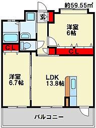 フェルト127 3階2LDKの間取り