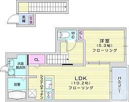 JR東北本線 南仙台駅 徒歩34分の賃貸アパート 2階1LDKの間取り