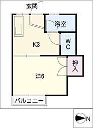 コーポ萩原[1階]の間取り